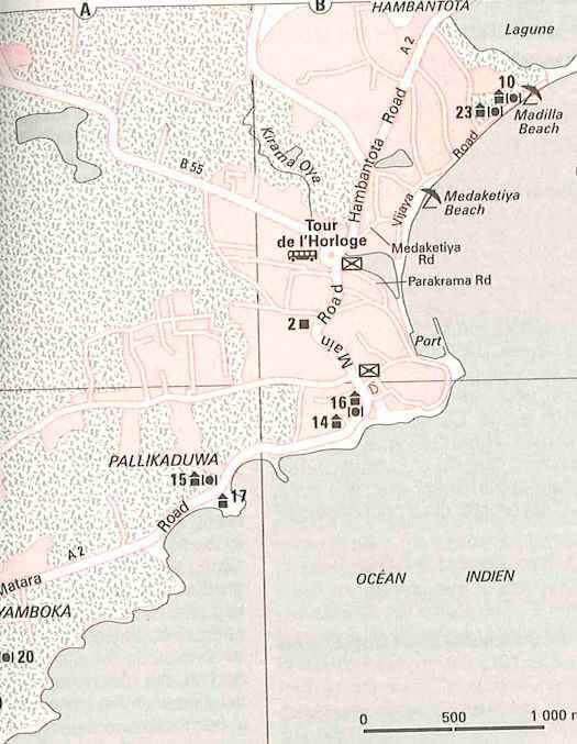 carte de Tangalle au Sri Lanka