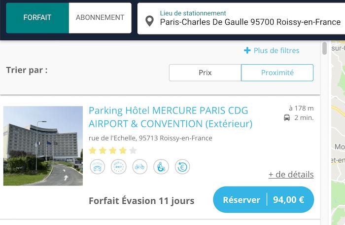 Onepark parking aéroport