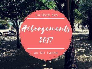 La liste des hébergements en 2017 au Sri Lanka