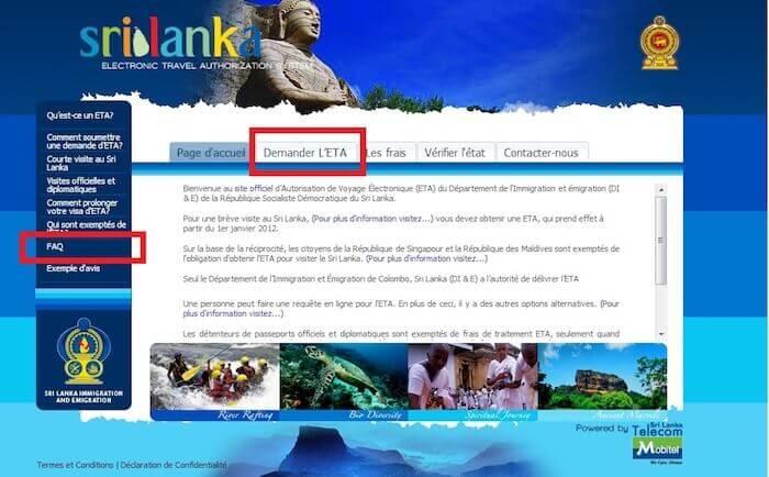 ETA Sri Lanka accueil