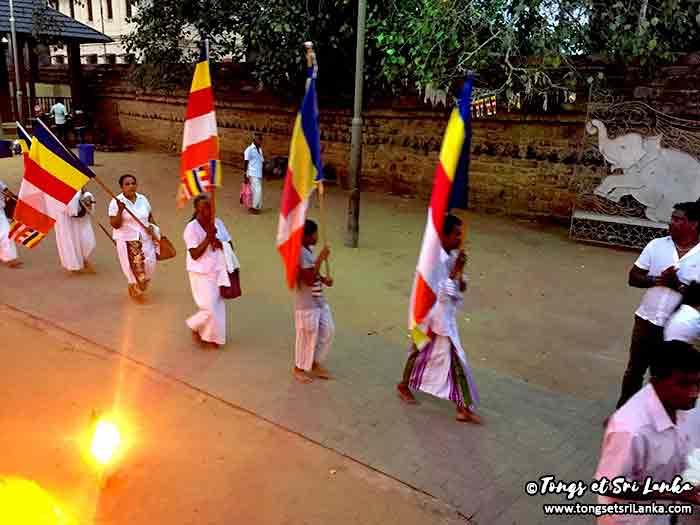 Cérémonie au temple de l'arbre Bodhi