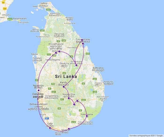 circuit au sri lanka par tongs et sri lanka en mars 2017