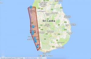 Carte de la côte Ouest du Sri Lanka
