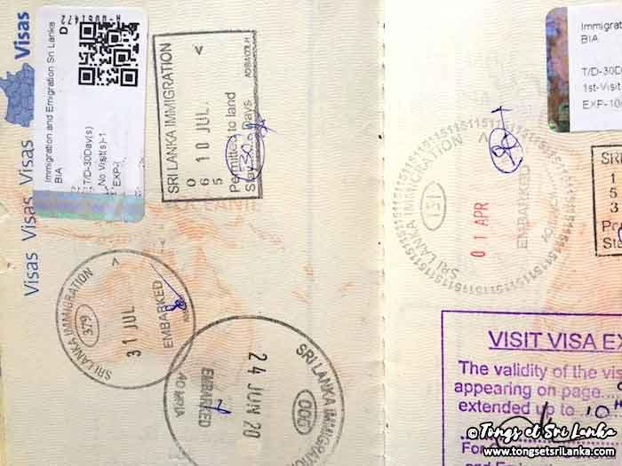 ETA pour le Sri Lanka sur le passeport par Tongs et Sri Lanka