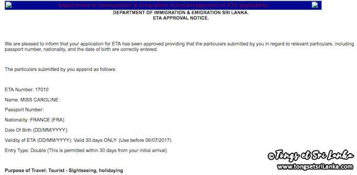 Email de confirmation pour l'ETA au Sri Lanka