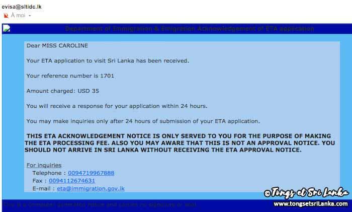 email réception de la demande de l'ETA Sri Lanka