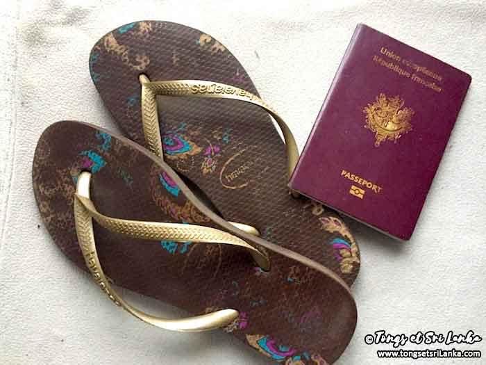 Passeport visa et Tongs et Sri Lanka
