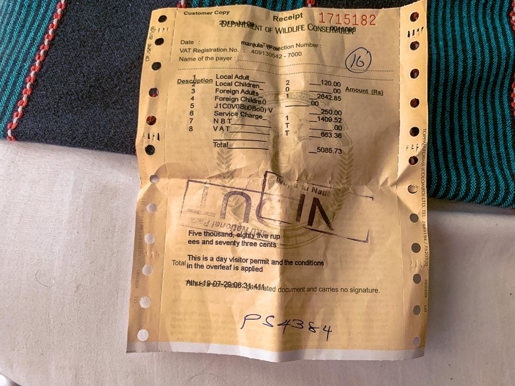 ticket entrée wilpattu